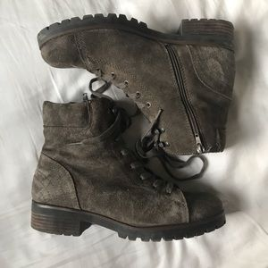 Crown Vintage Shoes - Crown Vintage Dark Gray Lace Up Combat Boot